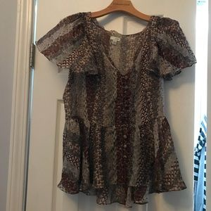 Odille Anthropologie Feather Print Silk Top Shirt